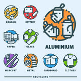Recycling garbage elements trash bags tires management industry utilize waste can vector illustration. Recycling garbage elements trash bags tires management Stock Photo