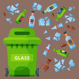 Recycling garbage glass trash bag tires management industry utilize waste can vector illustration. Recycling garbage glass elements trash bag tires management Royalty Free Stock Photography