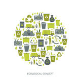 Recycling garbage icons. Concept. Waste utilization. Vector illustration Royalty Free Stock Photo