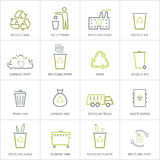 Recycling garbage icons set. Recycling garbage linear icons set. Waste utilization. Vector illustration Royalty Free Stock Photography