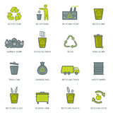 Recycling garbage icons set Stock Photos