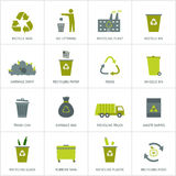 Recycling garbage icons set Stock Photo