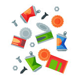Recycling garbage metal elements trash bags tires management industry utilize waste can vector illustration. Stock Photo