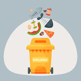 Recycling garbage organic elements trash tires management industry utilize waste can vector illustration. Royalty Free Stock Photography
