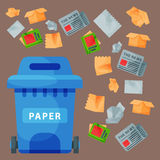 Recycling garbage paper elements trash tires management industry utilize waste can vector illustration. Recycling garbage paper elements trash bags tires Royalty Free Stock Photography