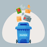 Recycling garbage paper elements trash tires management industry utilize waste can vector illustration. Recycling garbage paper elements trash bags tires Royalty Free Stock Image