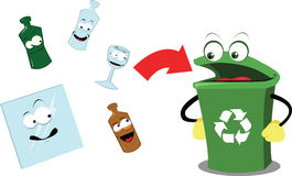 Recycling Glass. A  cartoon representing a funny recycling bin and some glass objects Royalty Free Stock Photography