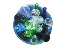 Recycling glass on white bakcground. Recycling glass on white background stock photography