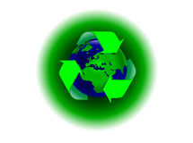 Recycling Global Warming. A global warming illustration with the earth surrounded by a recycling symbol. The additional format is and EPS vector saved in AI8 Stock Photo
