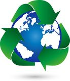 Recycling and Globe, Recycling Arrows, Recycling Sign, Recycling Logo. Industry Logo, Ecology Logo Stock Photos
