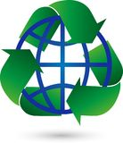 Recycling and Globe, Recycling Arrows, Recycling Sign, Recycling Logo. Industry Logo, Ecology Logo Stock Image