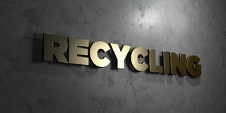 Recycling - Gold text on black background - 3D rendered royalty free stock picture Stock Image