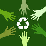 Recycling green team. Recycling sign been circled by various green hands. Vector file available Royalty Free Stock Images