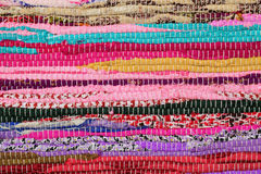 Recycling, handmade colorful ethnic retro rug Royalty Free Stock Photos