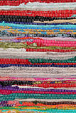Recycling, handmade colorful ethnic retro rug Stock Photography