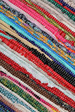 Recycling, handmade colorful ethnic retro rug Stock Photos