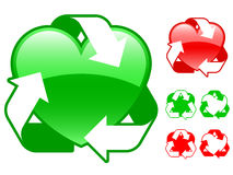 Recycling heart icon collection. Green and red stock illustration