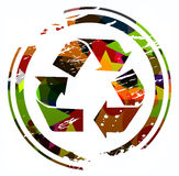 Recycling icon. Grunge colorful recycling icon design Stock Photo