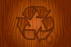 Recycling icon in bark vector. Recycling icon engraved in bark  illustration Royalty Free Stock Photos