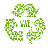 Recycling icon composed of green trees Stock Images