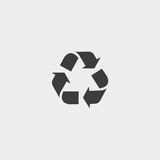 Recycling icon in a flat design in black color. Vector illustration eps10 Royalty Free Stock Images
