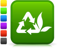 Recycling icon on square internet button Royalty Free Stock Images