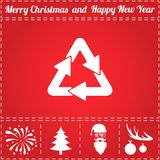Recycling Icon Vector. And bonus symbol for New Year - Santa Claus, Christmas Tree, Firework, Balls on deer antlers stock illustration
