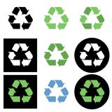 Recycling icon. Vector set collection of 9 different recycling symbol buttons and icons isolated on white background. Elements for web design Royalty Free Stock Photo