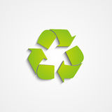 Recycling icon on white. Illustration of green recycling icon on white background Stock Image