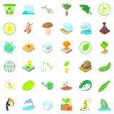 Recycling icons set, cartoon style Stock Image