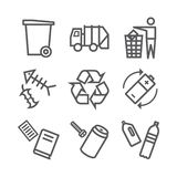 Recycling line icons. Waste sorting set. Vector illustration. Recycling icons. Waste sorting set. Vector signs for web graphics vector illustration