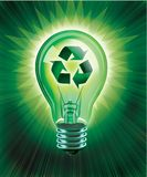 Recycling Idea. Digital concept of Recycling Idea using a light bulb with recycle symbol on burst of light background Royalty Free Stock Images