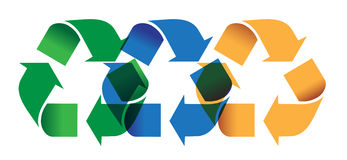 Recycling. Symbols, organics, glass and plastic, and paper overlapping and blended stock illustration