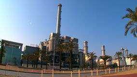 Recycling  Incineration Plant Near the Sea stock video footage