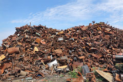 Recycling industry, heap of old metal Royalty Free Stock Image