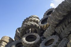 Recycling industry. Tires Recycling. Mix Tires for Recycling royalty free stock photography