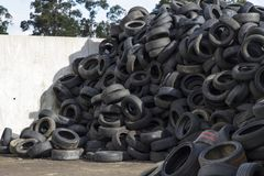 Recycling industry. Tires Recycling. Mix Tires for Recycling stock photos
