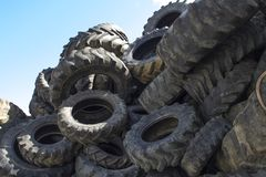 Recycling industry. Tires Recycling. Mix Tires for Recycling stock photography