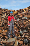 Recycling industry, worker gesture at heap of old metal Stock Photography