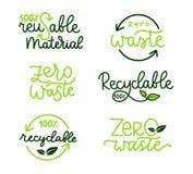 Recycling labels set. Eco illustration royalty free illustration