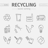 Recycling line icons. Waste sorting set. Vector. Recycling line icons. Waste sorting set. Vector illustration stock illustration