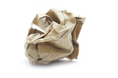 Paper ball. Recycling lined brown paper ball isolated on white royalty free stock images