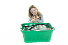 Recycling little girl Royalty Free Stock Image