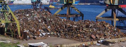 Recycling, loading scrap Russia. royalty free stock photography