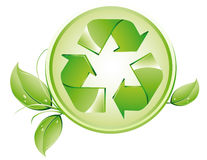 Recycling logo. Vector illustration shows the recycling logo with leafs royalty free illustration