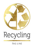 Recycling logo in golden Royalty Free Stock Image