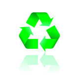 Recycling logo with reflection. Green recycling logo with reflection. Vector illustration Stock Image