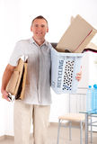 Recycling Man With Paper Stock Photography