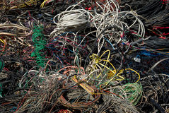 Recycling many cables. A bale of recycling communication cables. There is a mix of plastic and copper to recover Royalty Free Stock Images