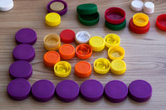Recycling - many plastic caps for recycling royalty free stock photos